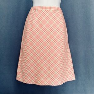 🌷 Brooks Brothers Pink & Green Plaid Summer Skirt